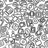 Media Seamless Hand Drawn Icon Pattern — Stock Vector