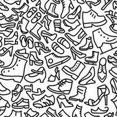 Shoes Hand Drawn Outline Icon Pattern — Stock Vector