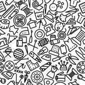Coser mano dibuja icono de fondo — Vector de stock