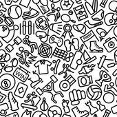 Sport nahtlose Gliederung ikonischen Muster Illustration — Stockvektor