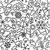 Weather Sketchy Seamless Outline Icon Pattern — Stock Vector