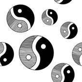 Yinyang Seamless Hand Drawn Pattern — Stock Vector