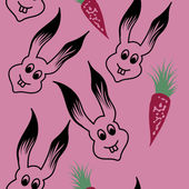 Bunny Hand Drawn Colored Seamless Pattern — Stock Vector