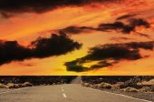Road at the sunset. — Stock Photo