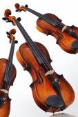 Three old violin on a white background — Stockfoto