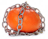 Bracelet in the form of a silver chain lying on Mandarin — Стоковое фото