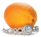 Women's Wrist Watches with bracelet adorned with stones lies near Orange — Stock Photo