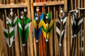 Feathering arrows for archery, which are in the quiver — Stock Photo