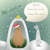 Bear and hare congratulate  — Stock Vector