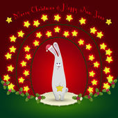 Rabbit  in the Christmas decorations — Vecteur