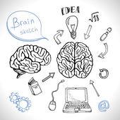 Doodles icons brain set — Stock Vector