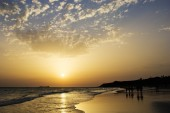 Sunset on the beah of La Barrosa — Stock Photo