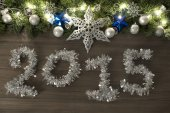 Christmas decoration in wood Background — Stock Photo