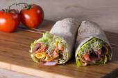 Wrapped tortilla sandwich rolls — Stock Photo