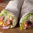 Wrapped tortilla sandwich rolls — Stock Photo #61301323