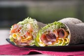 Wrapped tortilla sandwich rolls — Stock Photo