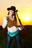 Mulher do cowboy. — Fotografia Stock