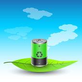 Battery on leaves — Stock Vector