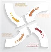 Infográfico de setas de papel — Vetor de Stock