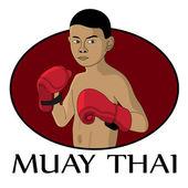 Muay thai kid — Stock Vector