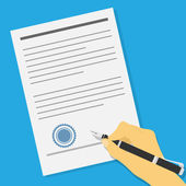 Signing contract — Stock Vector