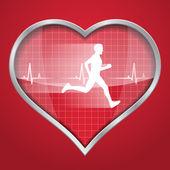 Heart of a running man — Vector de stock