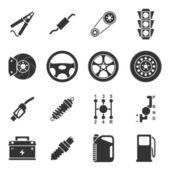 Auto partes iconos — Vector de stock
