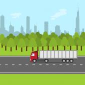 Truck on the road — Stock Vector