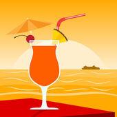 Cocktail na praia — Vetor de Stock