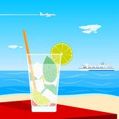 Cocktail on beach — Stock Vector