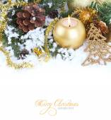 Christmas border with red bauble, golden present and snow — Stock Photo