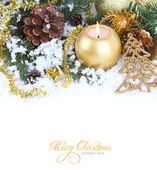 Christmas border with red bauble, golden present and snow — 图库照片