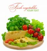 Background with fresh vegetables and cheese — Stock Photo