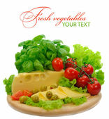 Background with fresh vegetables and cheese — Fotografia Stock