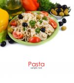 Pasta with fresh vegetables white — Stock Photo