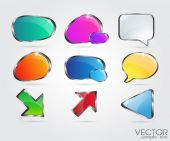 Set glossy volume download button icon. — Vector de stock