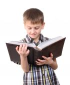 Boy reading a book — Stock Photo