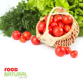 Fresh tomatoes and greens isolated — Foto de Stock