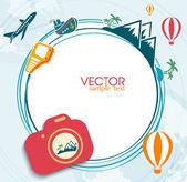 Nfographics camera Travel — Stock Vector