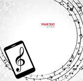 Mobile phone with Music notes — Stock Vector