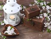 Cherry blossom on a wooden background — Stock Photo