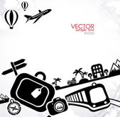 Travel black and white background — Stock Vector