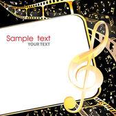 Cine y música de fondo de oro — Vector de stock