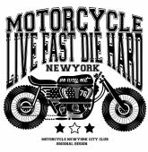 Motorcycle Vintage New York T shirt Graphic Design — Stock Vector