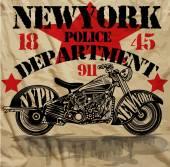 Motorcycle New York Fun Man T shirt Graphic Design — Stock Vector