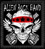 Skull Rock n roll band music vector man t shirt design — Stock Vector