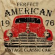 Old American Car Vintage Classic Retro man T shirt Graphic Design — Stock Vector #58816029