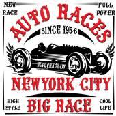 Vintage race car print man t shirt vector graphic design — Stock Vector