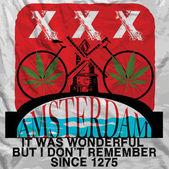 Amsterdam Poster Man T shirt Graphic Design — Stock Vector