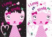 Cat Bird Kids Sweet Clothing T shirt Vector Design — Stock Vector